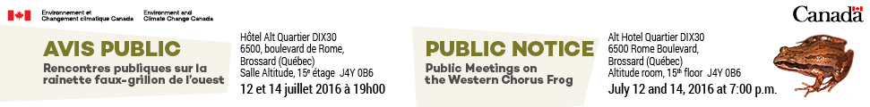 Public Notice - Public Meetings on the Western Chorus Frog